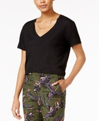 Rachel Roy V Neck T Shirt Only At Macy's Black Foil