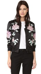 3X1 Satin Bomber Jacket Black