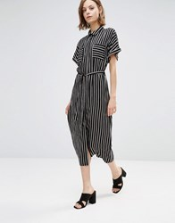 Style London Midi Shirt Dress In Stripe Black White
