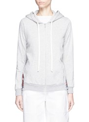 Clu Too Stripe And Check Back Drawstring Cotton Hoodie Grey