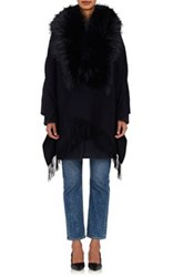 Barneys New York Women's Wool Blend Fur Trimmed Cape Navy