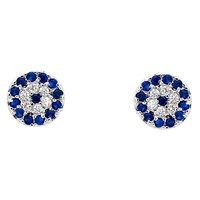 Melissa Odabash Glass Crystal Evil Eye Stud Earrings Silver Blue