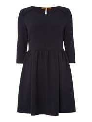Hugo Boss 3 4 Sleeve Fit And Flare Dress Dark Blue