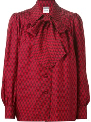 Moschino Vintage Band Collar Blouse Red