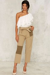 Patch And Go Cropped Pants Beige