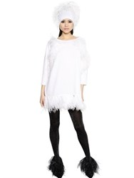 Gianluca Capannolo Feathers Embellished Wool Knit Dress