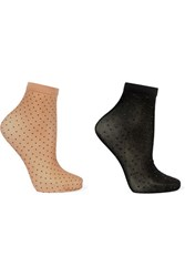 Wolford Nola Set Of Two Polka Dot 20 Denier Socks Black