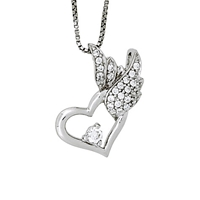 Jools By Jenny Brown Sterling Silver Heart Pave Wing Pendant Rhodium