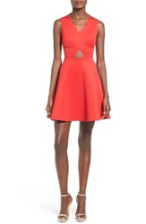 Women's Soprano Scalloped Fit And Flare Dress Red