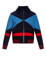 Valentino Colour Block Wool Bomber Jacket