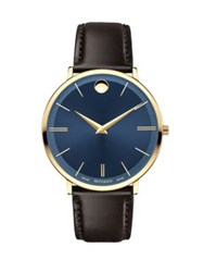 Movado Yellow Gold Pvd Finished Stainless Steel And Calfskin Leather Strap Watch 0607088 Black Blue