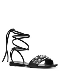 Michael Kors Mica Studded Lace Up Flat Sandals Black