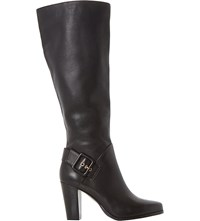 Dune Sydney Side Buckle Knee High Boots Black Leather
