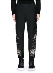 Alexander Mcqueen Floral Embroidery Jogging Pants Black