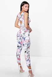 Boohoo Floral Print Cross Back Skinny Leg Jumpsuit Multi