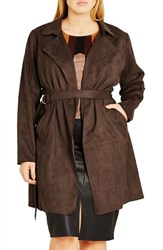 City Chic Plus Size Women's 'Desert Dream' Faux Suede Trench Coat