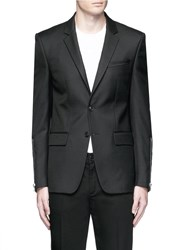 Givenchy Zip Cuff Wool Blend Twill Blazer Black