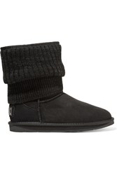 Australia Luxe Collective Fame Ribbed Knit And Shearling Boots Black