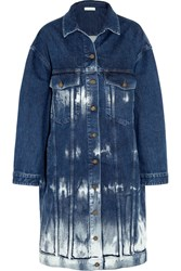 Stella Mccartney Oversized Tie Dyed Stretch Denim Jacket Mid Denim