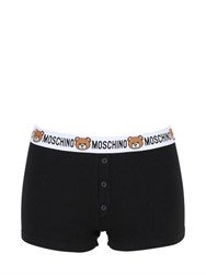 Moschino Teddy Bear Logo Ribbed Cotton Shorts