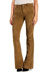 Paige Women's Denim 'Bell Canyon' High Rise Suede Flare Pants Saddle Brown