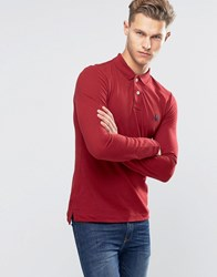 United Colors Of Benetton Long Sleeve Pique Polo Shirt In Muscle Fit Burgundy 21C Red