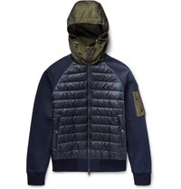 Moncler Shell And Loopback Cotton Jersey Hooded Down Jacket Blue