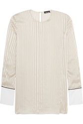 Just Cavalli Cotton Paneled Striped Silk Shirt Gray