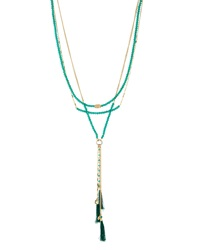 Lydell Nyc Multi Strand Layered Tassel Necklace Green Oth