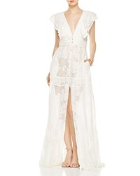Rachel Zoe Rory Floral Fil Coupe Gown Open White
