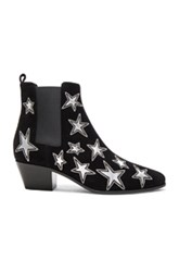 Saint Laurent Rock Suede And Metallic Leather Boots In Black Geometric Print Black Geometric Print