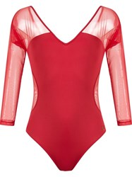 Brigitte Sheer Panels Body Red