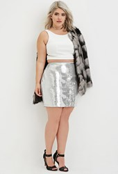 Forever 21 Plus Size Sequined Mini Skirt Silver