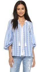 English Factory Boho Blouse Blue White