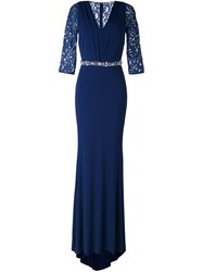 Blumarine Lace Sleeve Dress Blue