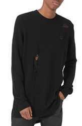 Topman Men's Aaa Collection Ripped Longline Sweater