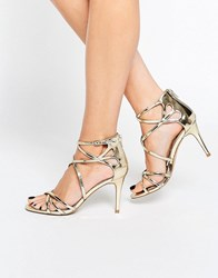 Head Over Heels By Dune Exclusive Minita Gold Strappy Heeled Sandals Gold