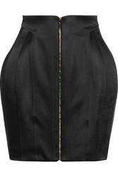 Balmain Satin Mini Skirt Black
