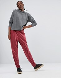 Monki Slinky Slim Leg Trousers Red