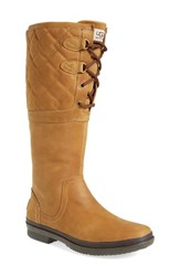 Uggr Women's Ugg 'Elsa' Quilted Waterproof Boot Chestnut Leather