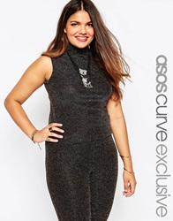 Asos Curve Sleeveless Top In Gold Blackgold