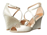Badgley Mischka Abigail Ivory Satin Women's Wedge Shoes Bone