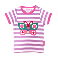 Toby Tiger Butterfly T Shirt White Pink Purple