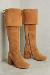 Anthropologie Matiko Suede Over The Knee Boots Tan Suede