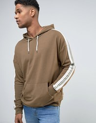 New Look Hoodie In Khaki With Tape Sleeve Detail Dark Khaki Green