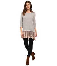 Dylan By True Grit Luxe Sparkle Slub 3 4 Sleeve Top W Victorian Lace Hem Vintage Pink Women's Clothing