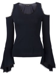 Yigal Azrouel Lace Detail Cold Shoulder Top Black