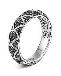 John Hardy Naga Sterling Silver Lava Slim Band Ring With Black Sapphire Silver Black