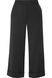 Alexander Wang Embellished Cropped Twill Wide Leg Pants Black
