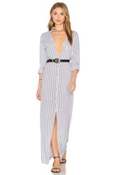 Indah Rokaway Printed Button Up Maxi Dress White